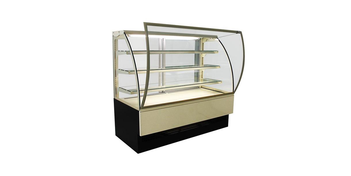 vitrine réfrigérée bombée